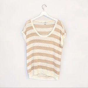 Splendid Gold + White Short Sleeve Top